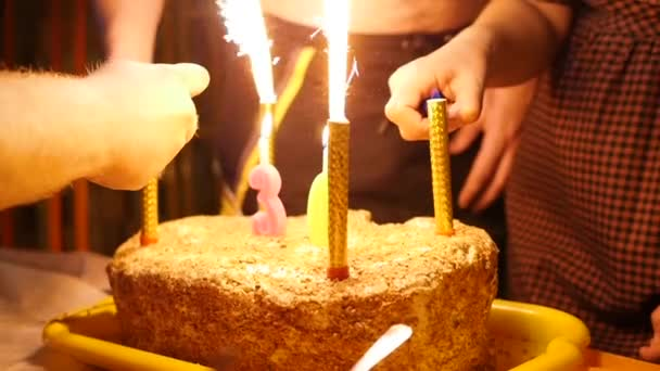 Magnificent Birthday Cake With Candles Spark Fireworks In Dark Room Ignition Funny Birthday Cards Online Alyptdamsfinfo