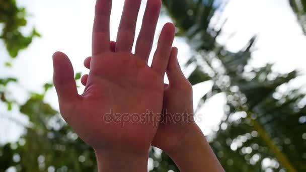 erfolgreiches Geschäftsteam aus Menschen legt die Hände in der Mitte zusammen und erhebt sich in den Himmel