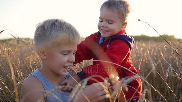 Kinder stehen in einem Weizenfeld. Zwei Kinder lachen und lächeln. Spaziergänge an der frischen Luft