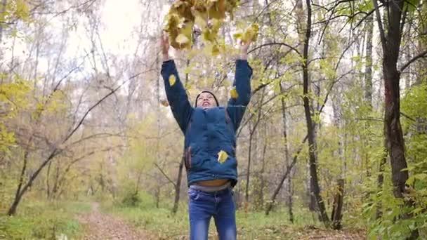 Egy tinédzser veti fel sárga levelek fölött. Egy sétát a fenyőerdőben