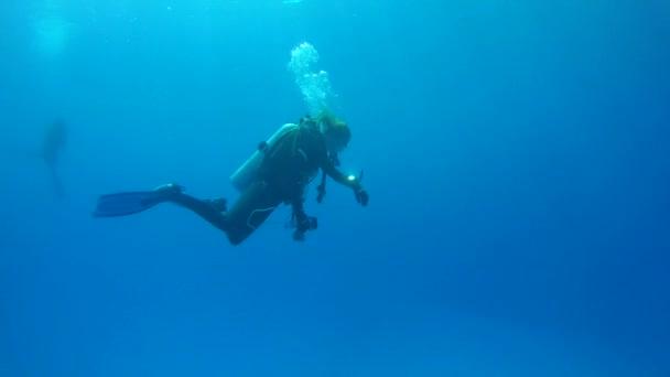 Female scuba diver floats in blue water,