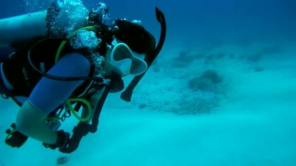 Female scuba diver swims over the sandy bottom, Indian Ocean, Maldives