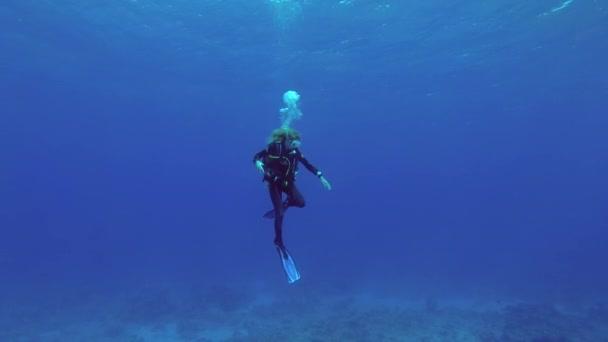 Indischer Ozean, Malediven, Asien - März 2018: Eine junge schöne Sporttaucherin, die unter Wasser im blauen Wasser läuft, unterhält rechtzeitig Sicherheitsstopp in einer starken Strömung. Indischer Ozean, Insel Fuvahmulah, Malediven