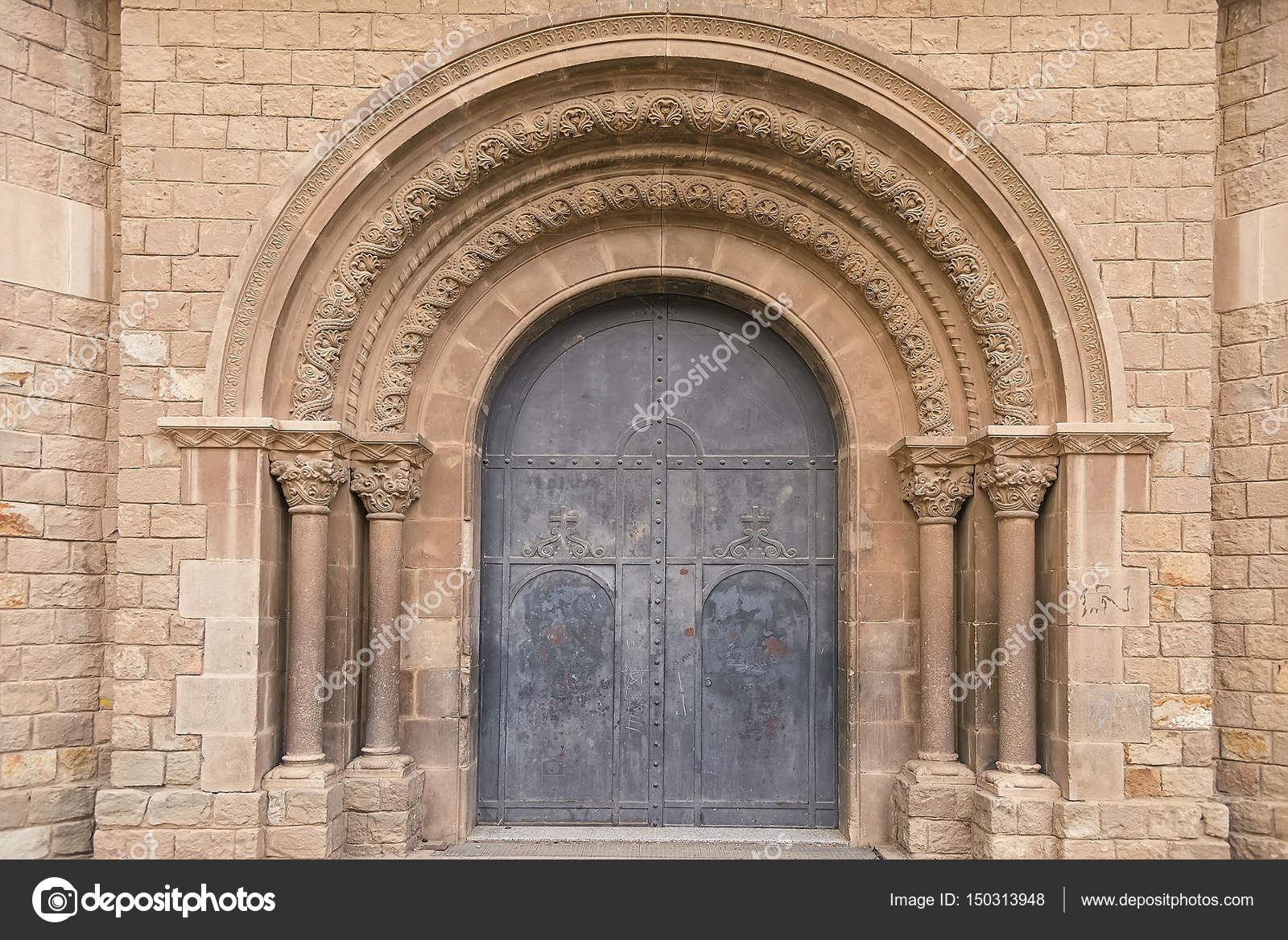 Old monastery door with arches in Barcelona u2014 Stock Photo & Old monastery door with arches in Barcelona u2014 Stock Photo ...