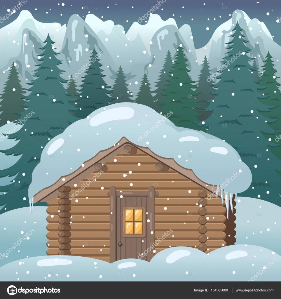 Karlı Bir Ormandaki Bir Ev çizimi Stok Vektör Hmarka 134585808