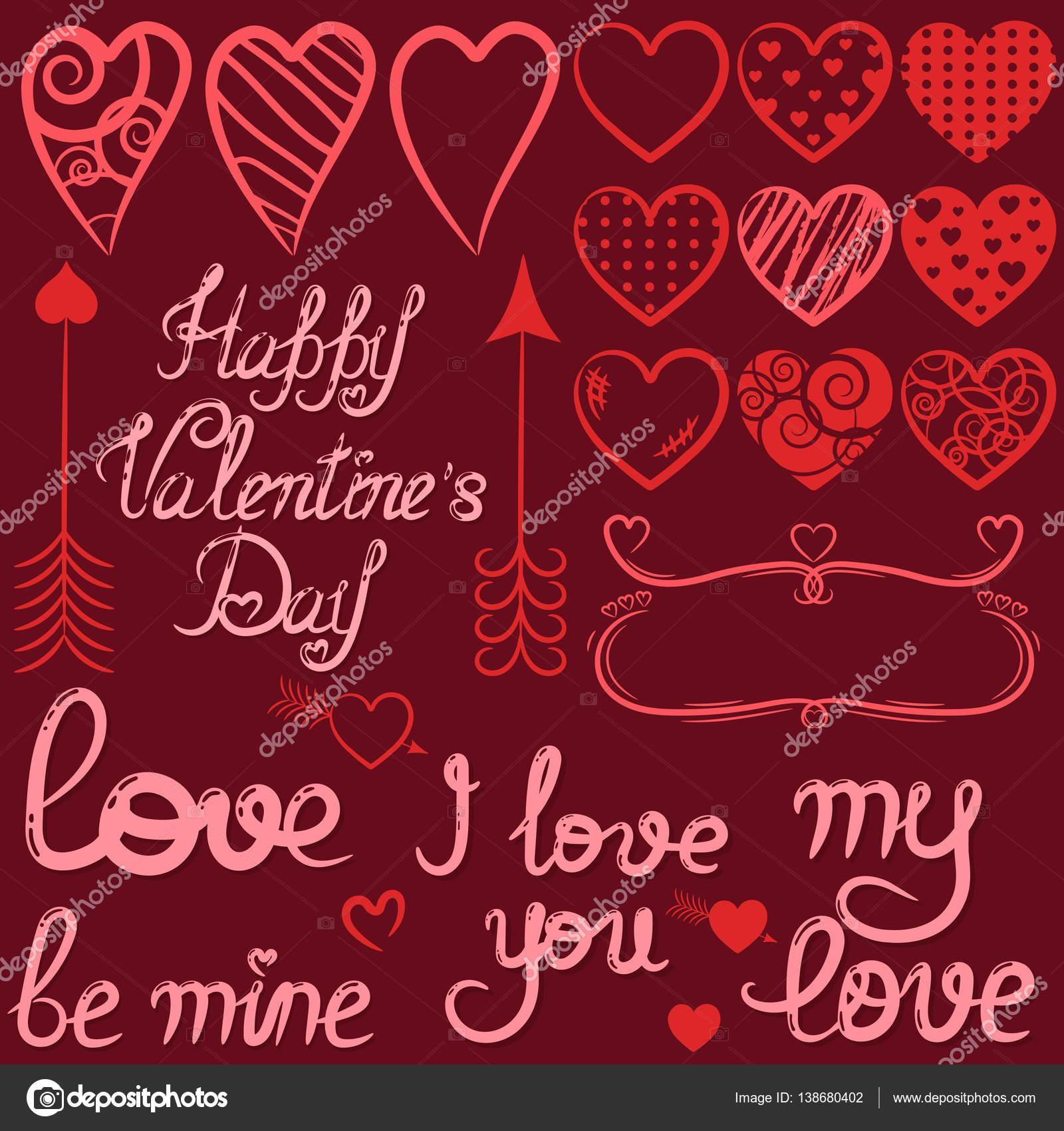 dd50bb5591066b Vermelho conjunto de dia dos namorados com corações e elementos ...