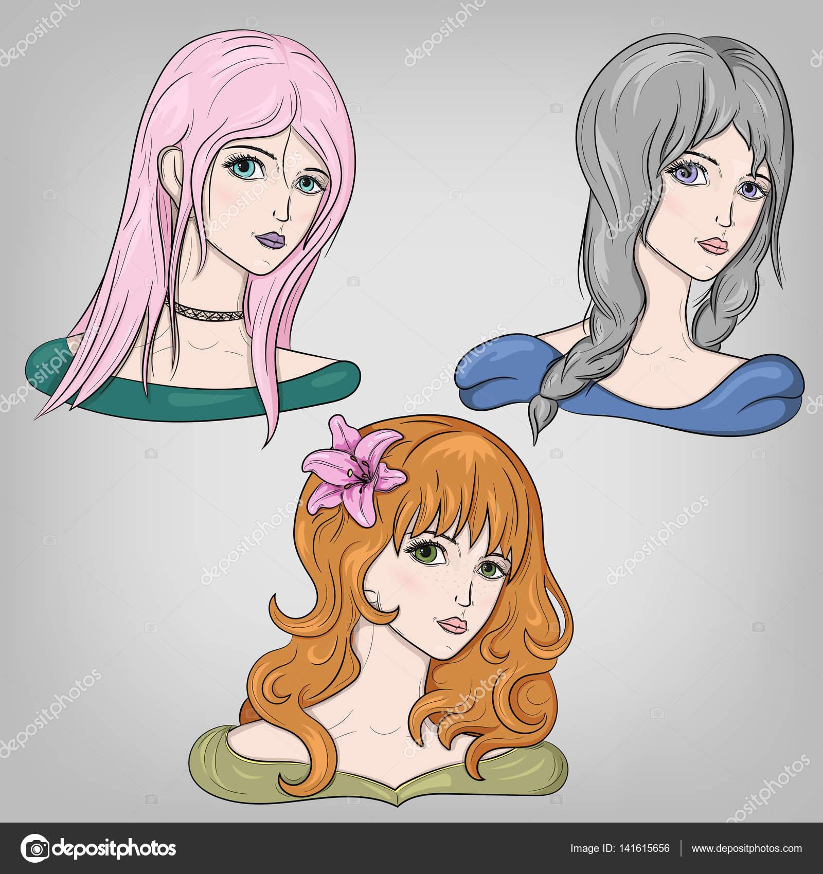 Vector Chicas Anime Juego De Chicas De Anime Retratos Femeninos