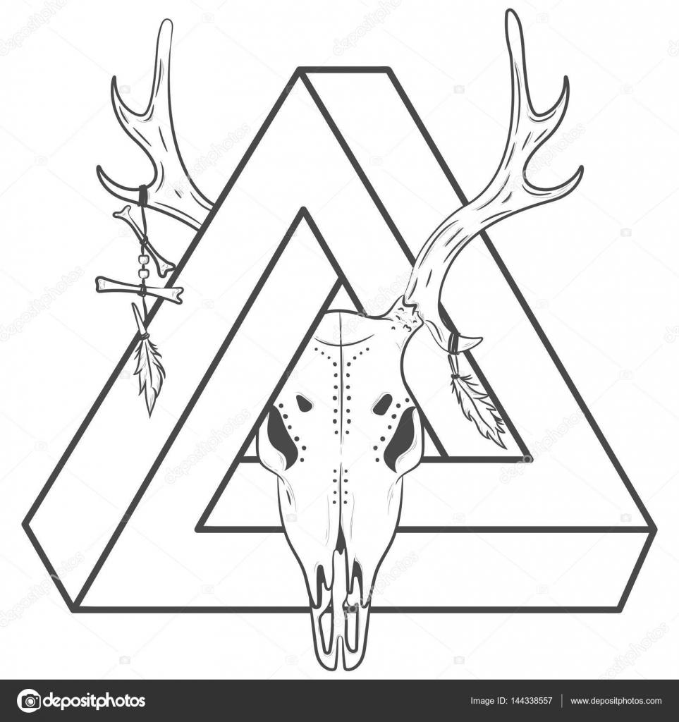 Ciervo grabado del vector con un triángulo. Cráneo de ciervo y ...
