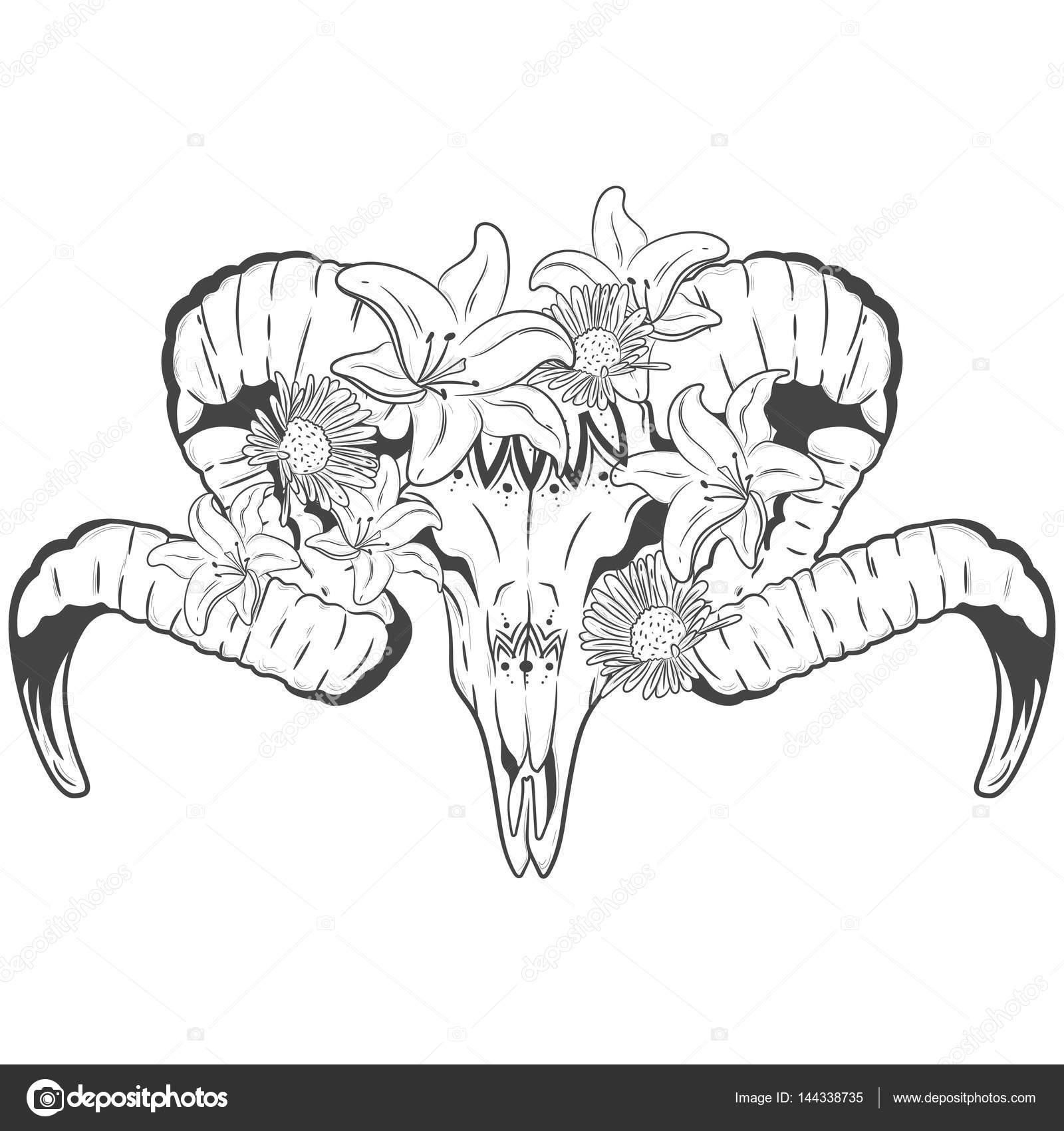 ram skull with flowers of lilies and daisies. Vector print — Stock ...