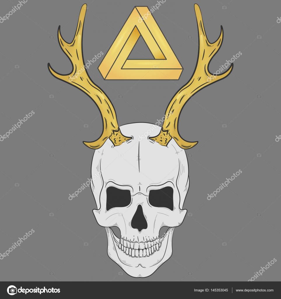 Dibujo de una calavera con cuernos de oro. Cráneo de impresión ...