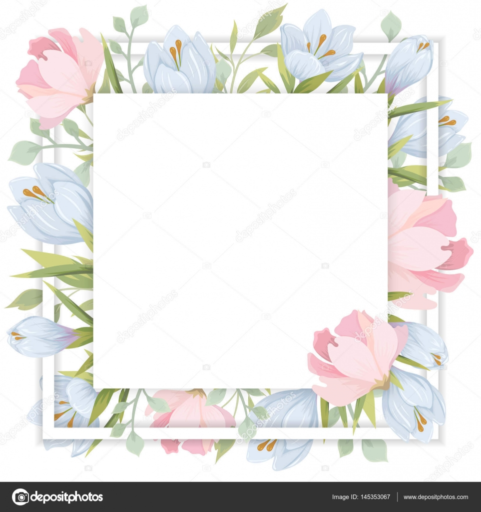 Template With Flowers Vector Frame With Blue And Pink Flowers