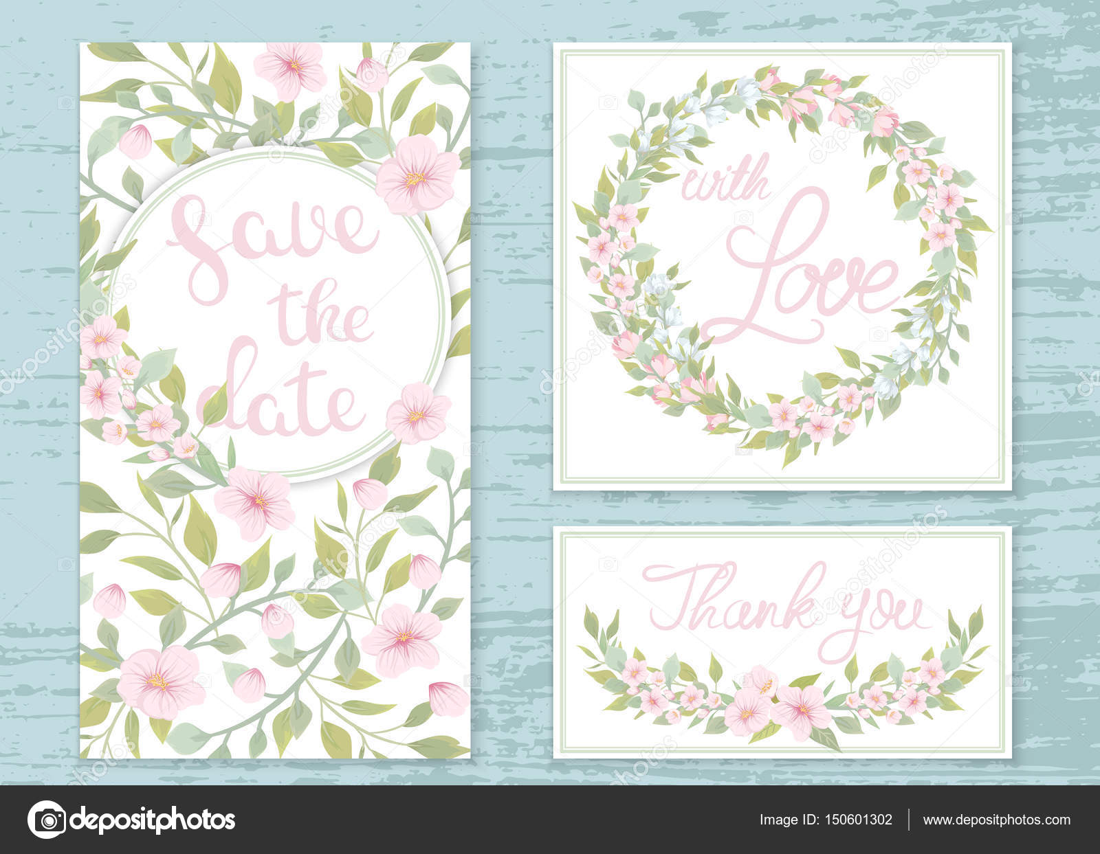 Vector wedding invitations set with the flowers of apple trees ...