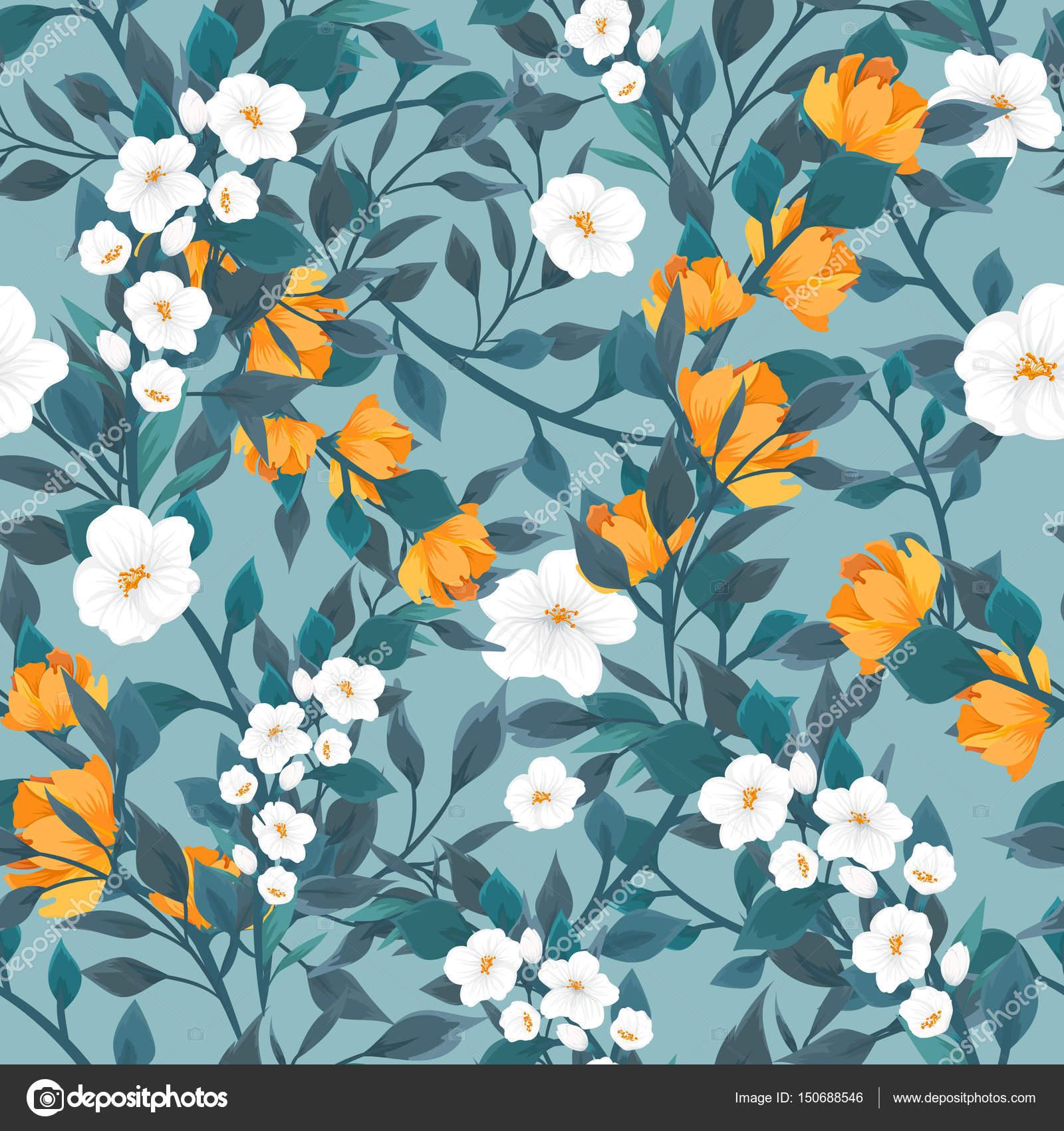 Nahtlose Muster mit floralen Motiven. Muster mit Blumen von Apfel ...