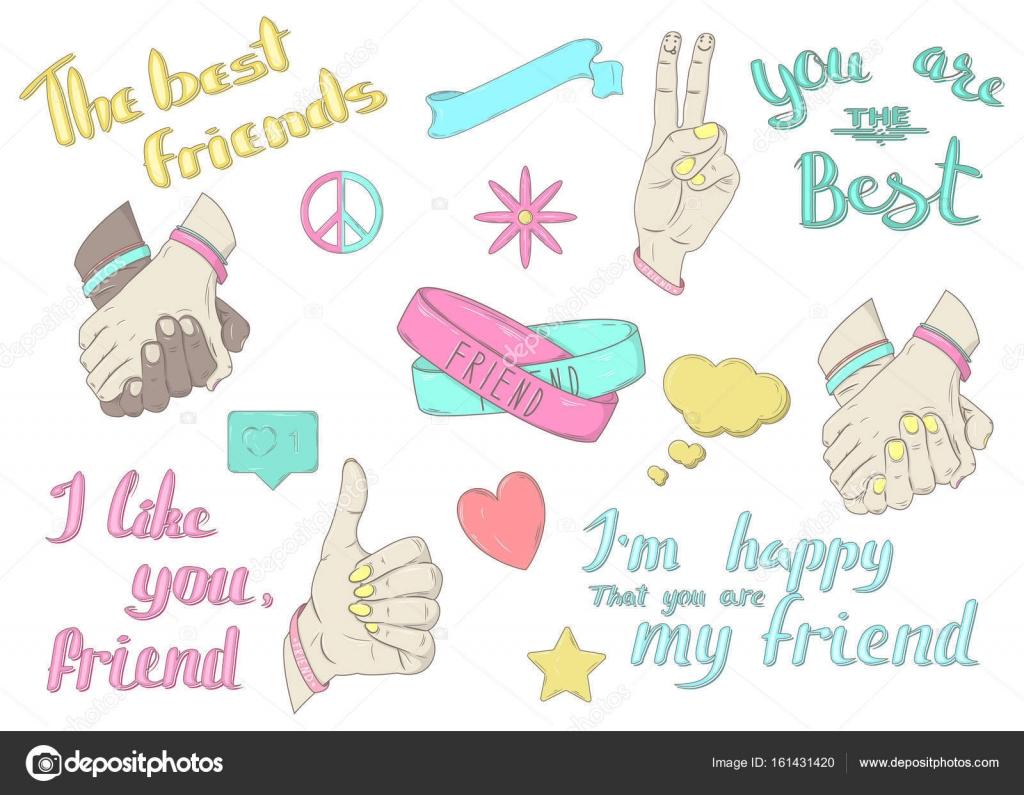 337d6c805112 Векторный набор «Лучшие друзья». Знак, символы. Ручная роспись ...