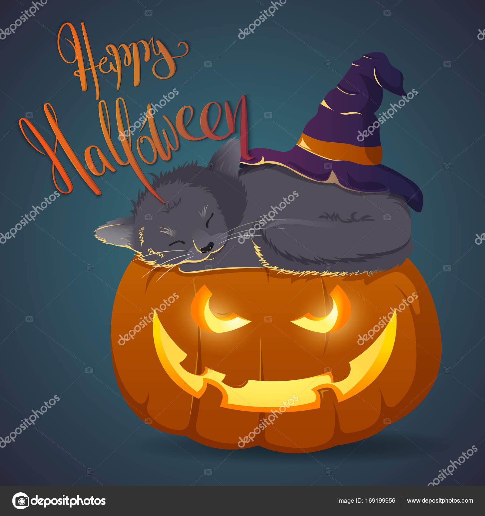 Zucca Halloween Gatto.Gatto Su Una Zucca Di Halloween Di Sonno Illustrazione Cartolina Di