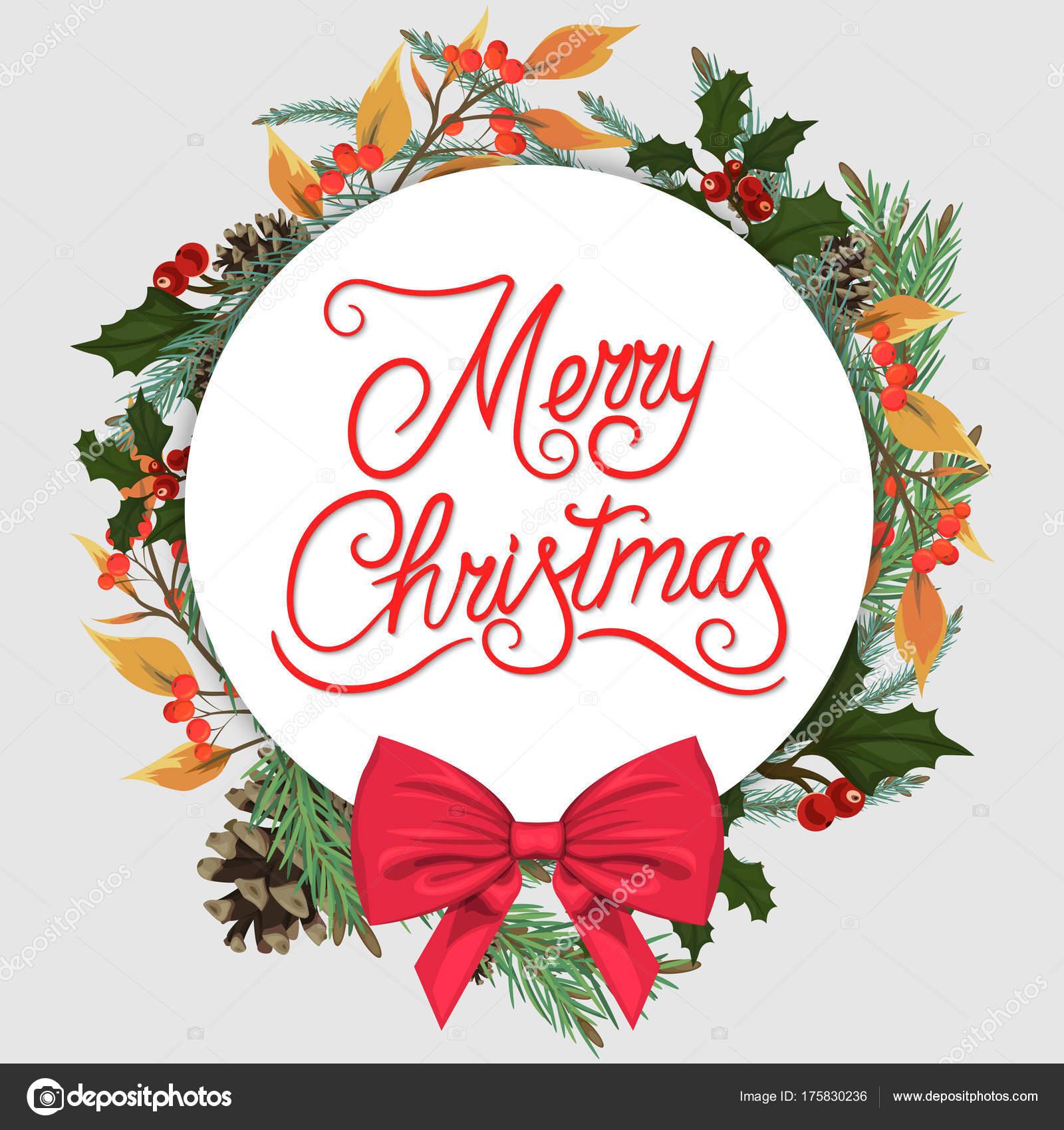 Bilder Schöne Weihnachten.Frohe Weihnachten Schöne Weihnachten Vorlage Mit Tannennadeln Ein