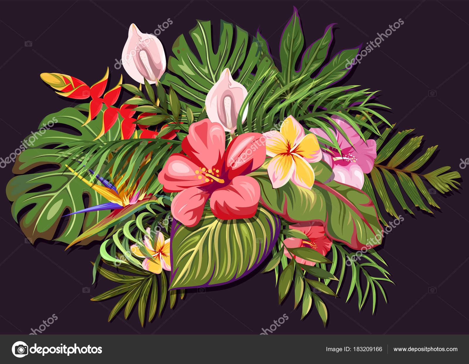 Colorido Ramo Flores Hojas Tropicales Composicion Flores Plantas