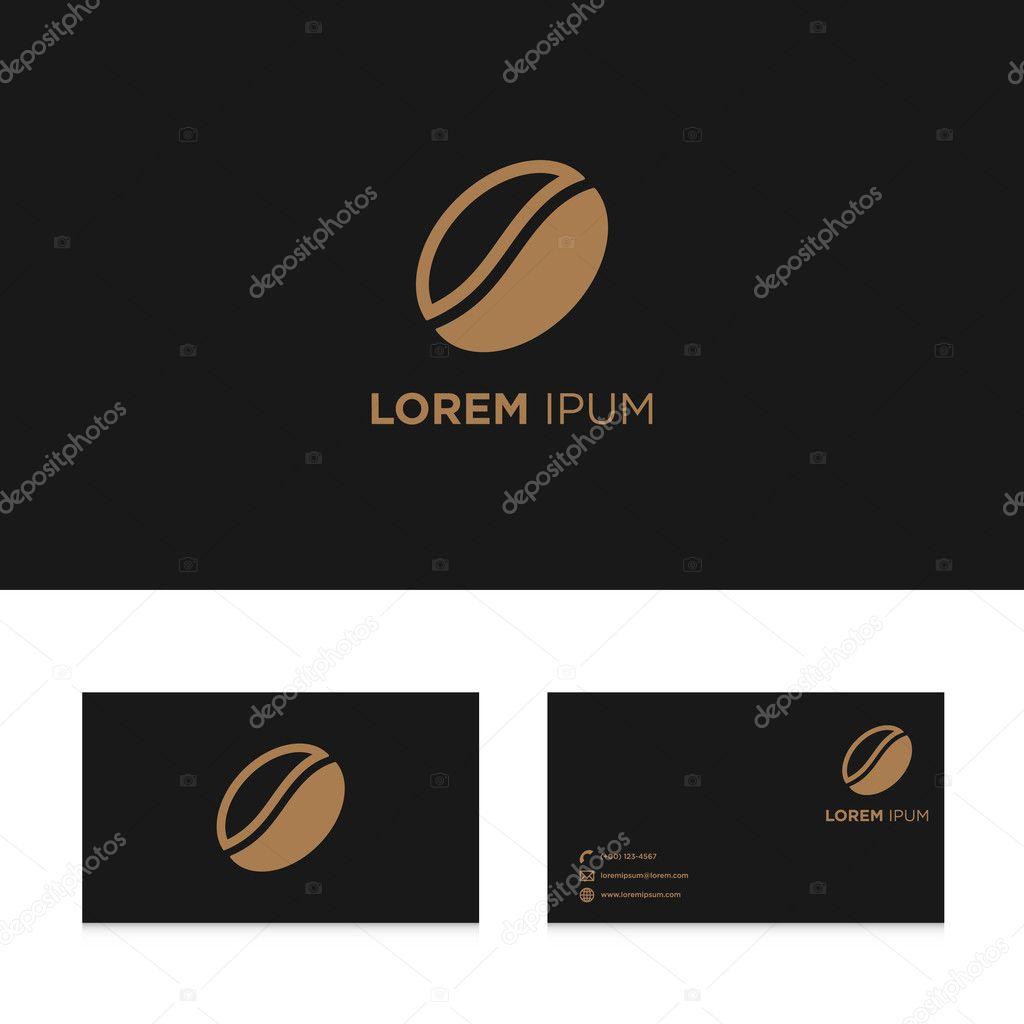 Resume Des Elements De Conception Logo Sur Le Modele Carte Visite Graines Cafe Illustration Vectorielle Vecteur Par