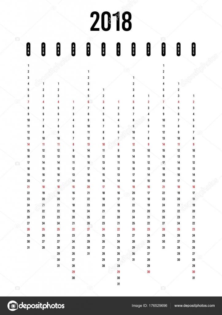 2018 Kalender Vorlage moderne flache Bauweise für ein Jahr ...
