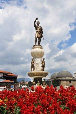 SKOPJE - MACEDONIA / 06.08.2013: Warrior monument of Philip II of Macedon at Karpos Rebellion Square in Skopje