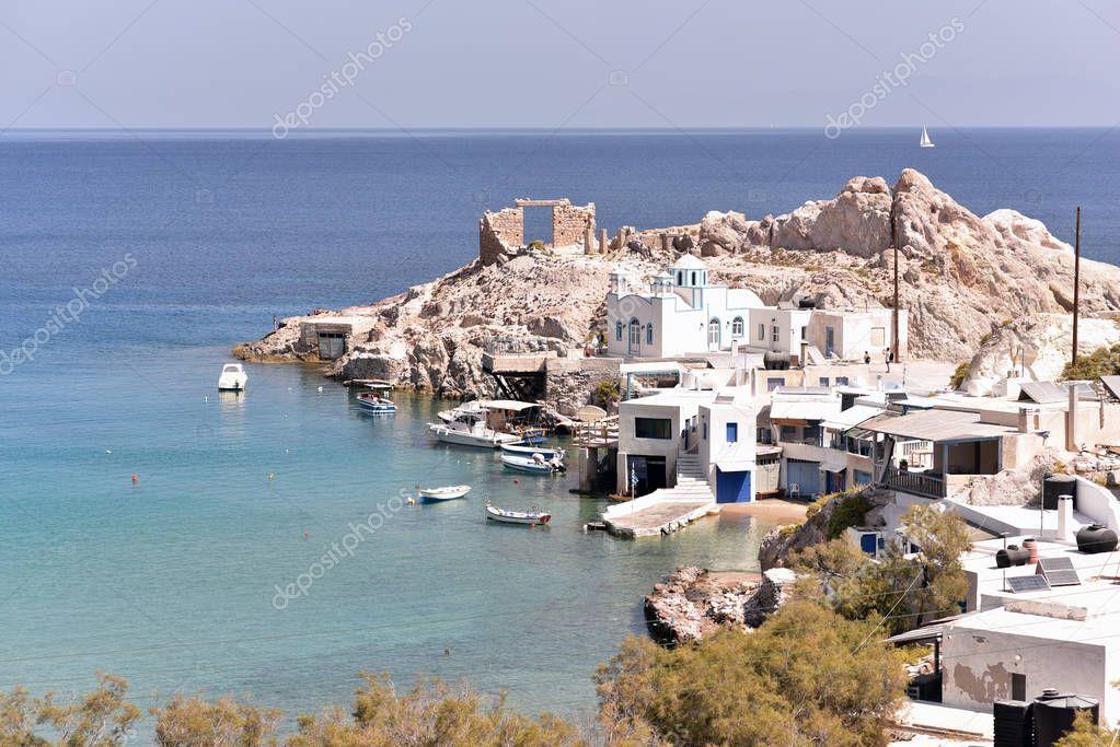 MILOS ISLAND - GREECE / 09.11.2017: View of Firopotamos village and beach at Milos island, Cyclades, Greece