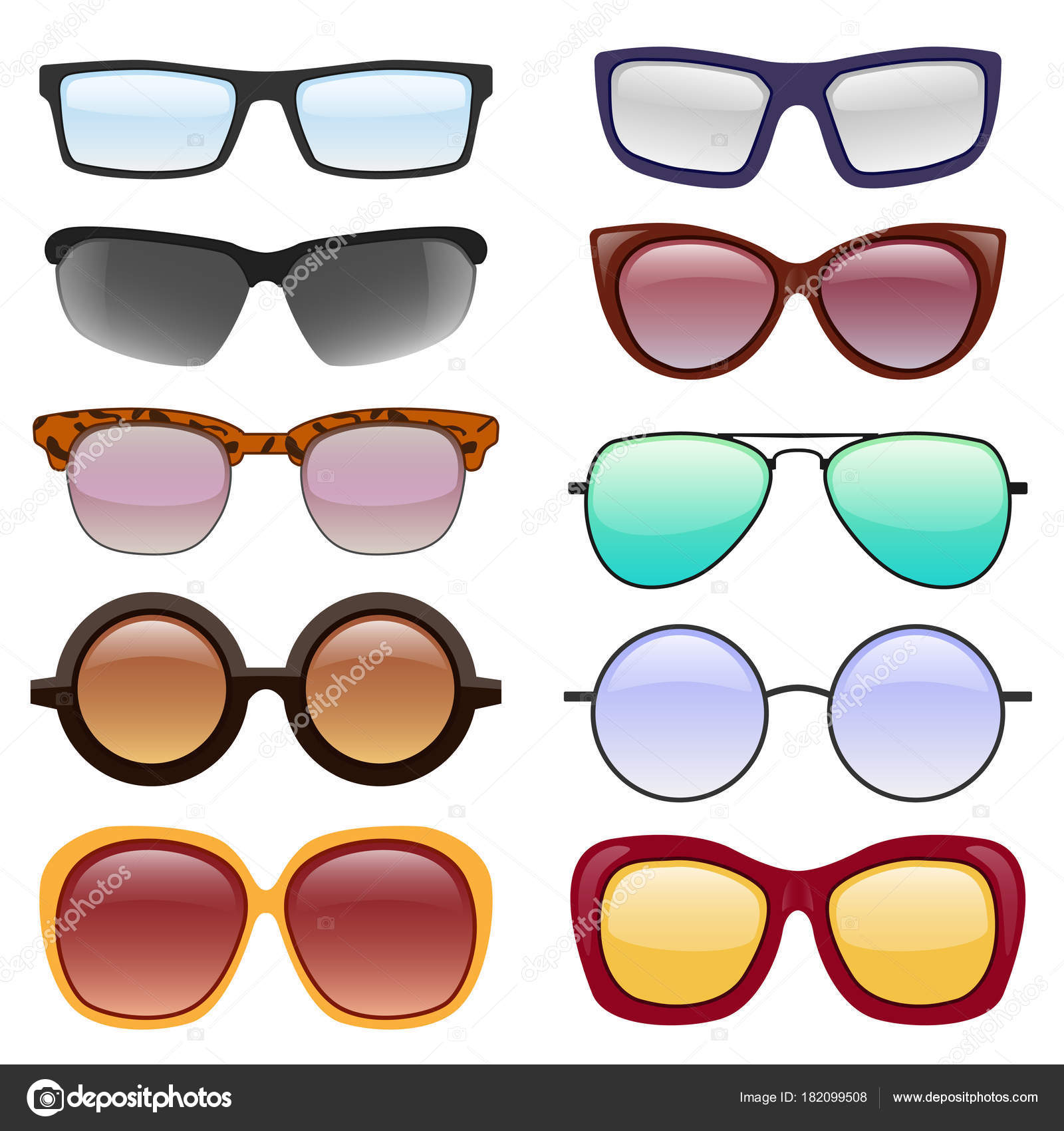 3f5ba9088e2 Vector collection of Eyeglasses and Sunglasses with different frames