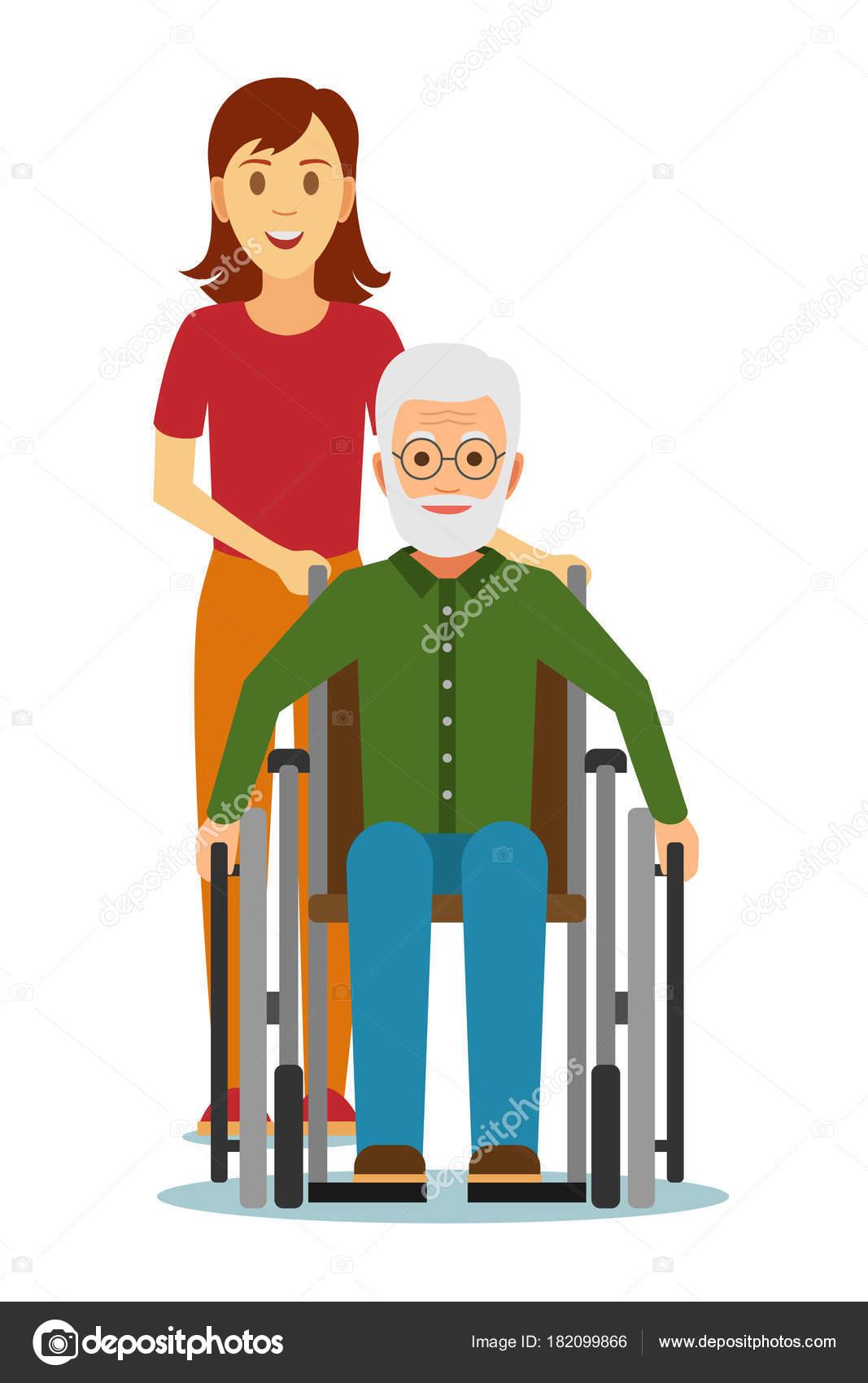 Vieux Handicapés En Fauteuil Roulant Avec Petite Fille