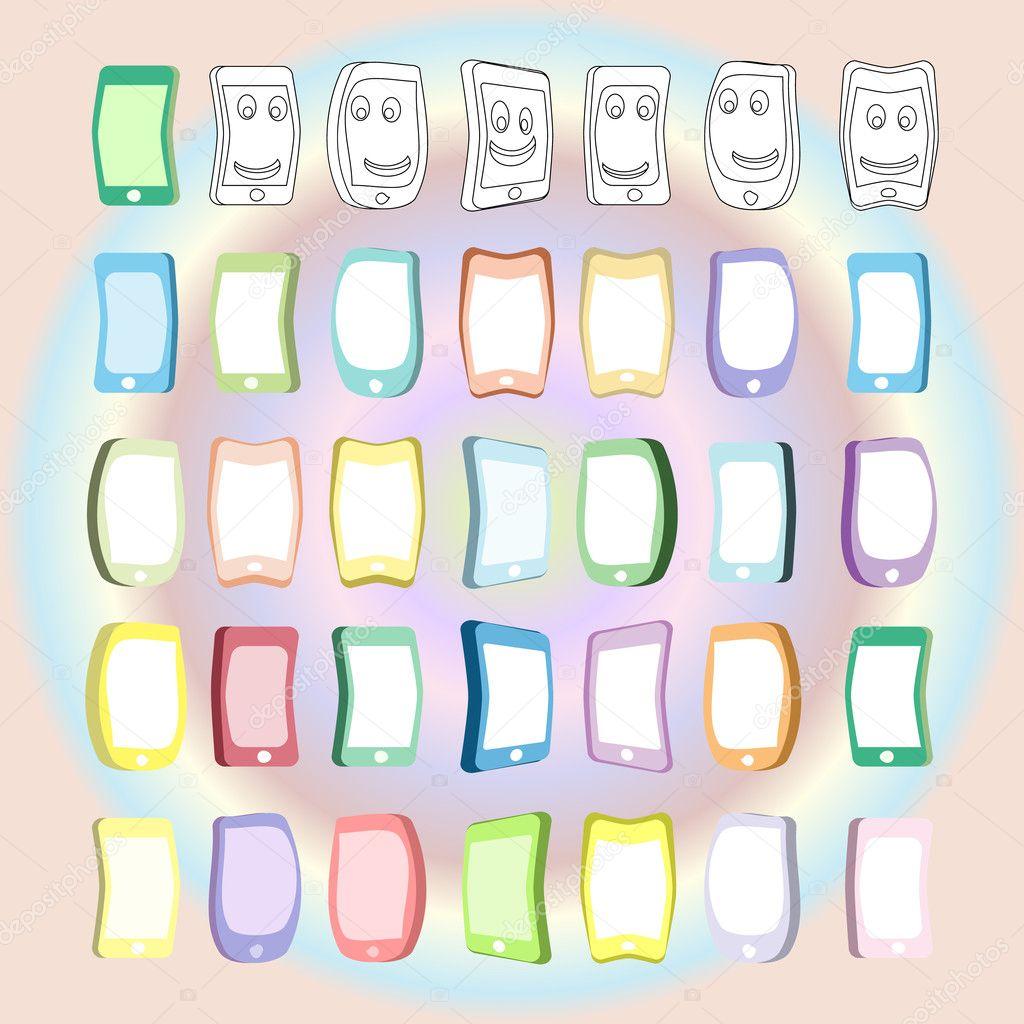 Farklı Renk Ve çizgi Film Telefon Boyama Için Stok Vektör