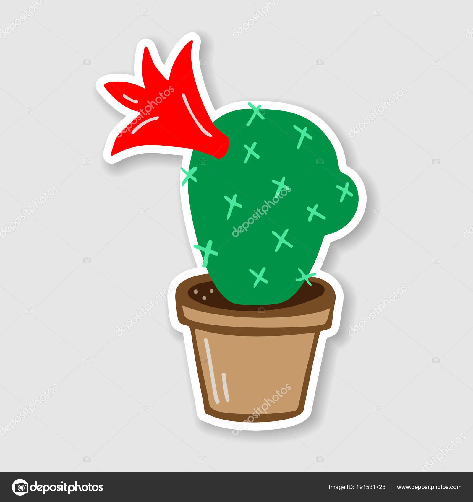 Płaskie Wektor Naklejki Kaktus W Brązowy Doniczki Z Tworzyw
