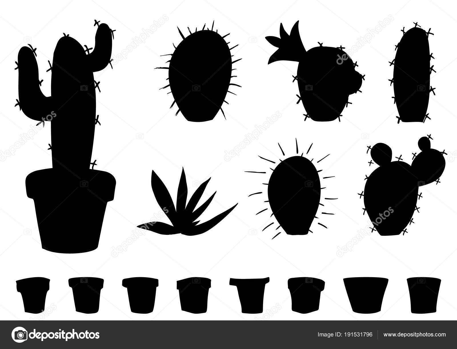 Vector Of Black Cactuses And Flower Pots Silhouettes Stock Vector