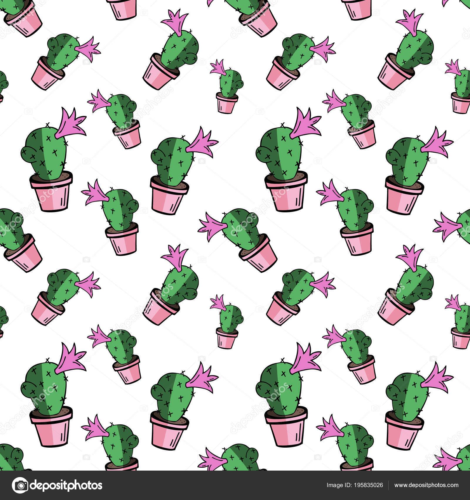 Dibujos Doodle Floral Png Cactus Verde Inicio Flor Maceta Rosa