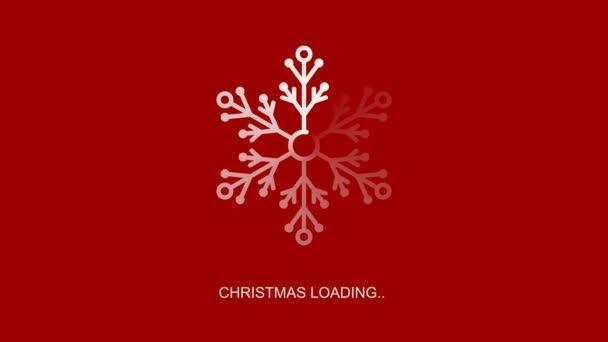 lapos átlátszó fehér hópehely betöltő indikátor karácsonyi betöltése szöveg, loopable 4k állomány videó felvételek, mozgás grafika animáció, design elem piros és fekete háttér alfa csatorna