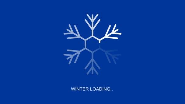 lapos átlátszó fehér hópehely betöltő indikátor téli terhelés szöveg, loopable 4k állomány videó felvételek, mozgás grafika animáció, design elem kék és fekete háttér alfa csatorna