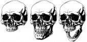 Sada podrobné děsivé grafické lidská lebka s černýma očima