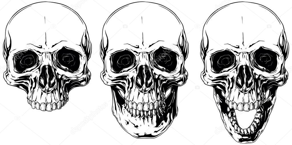 White graphic human skull with black eyes set