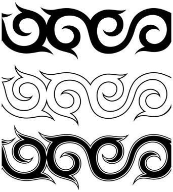 Black and white tattoo ornament pattern set