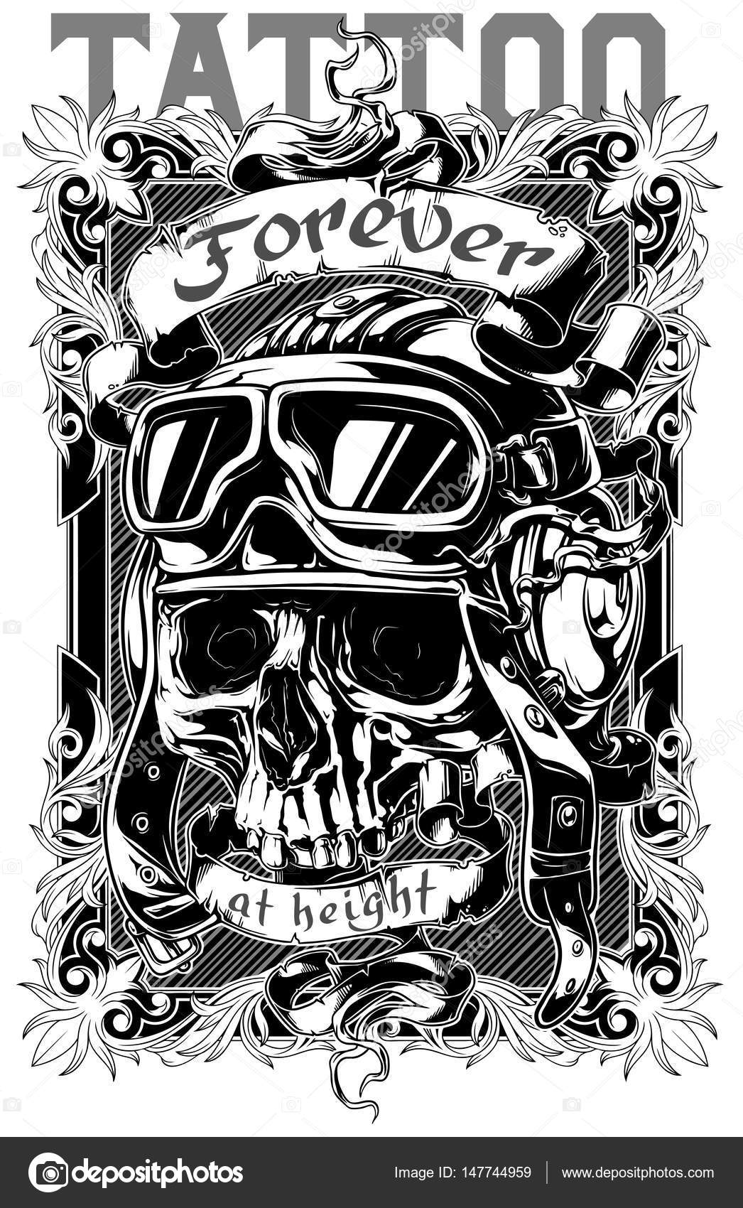 Poster design drawing - A Vector Illustration Of Graphic Tattoo Poster Design With Retro Skull In Pilot Helmet And Text Vector By Gb_art