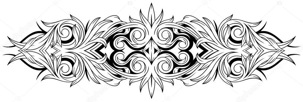 Floral black and white tattoo ornamental pattern