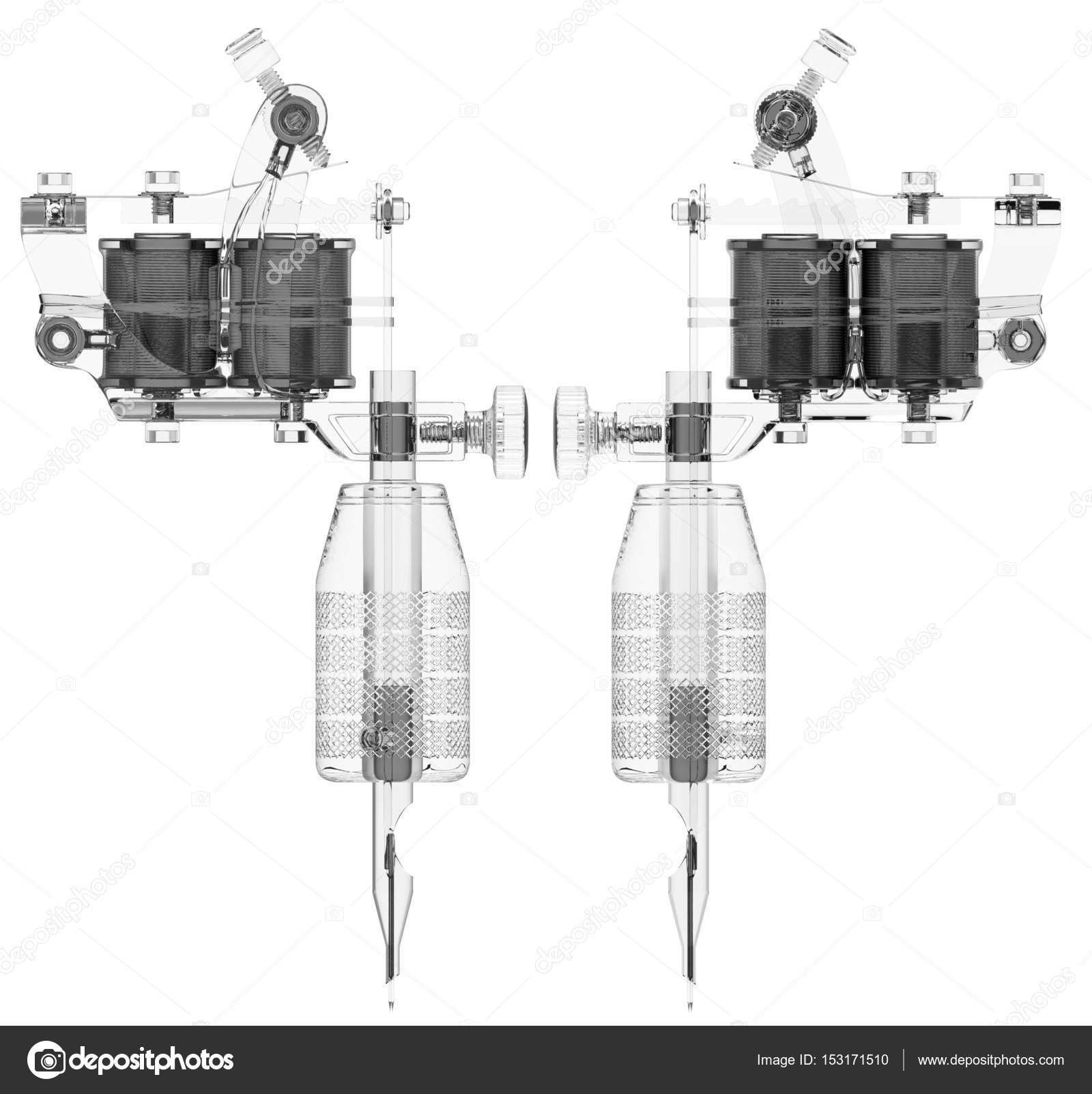 Plastic Grey Tattoo Machine With Two Coils Set Stock Photo Gun Diagram