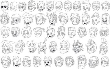 Different funny cartoon black and white characters heads