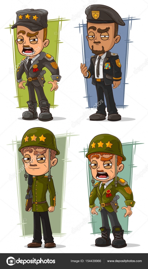 Cartoon army general with weapon character vector set