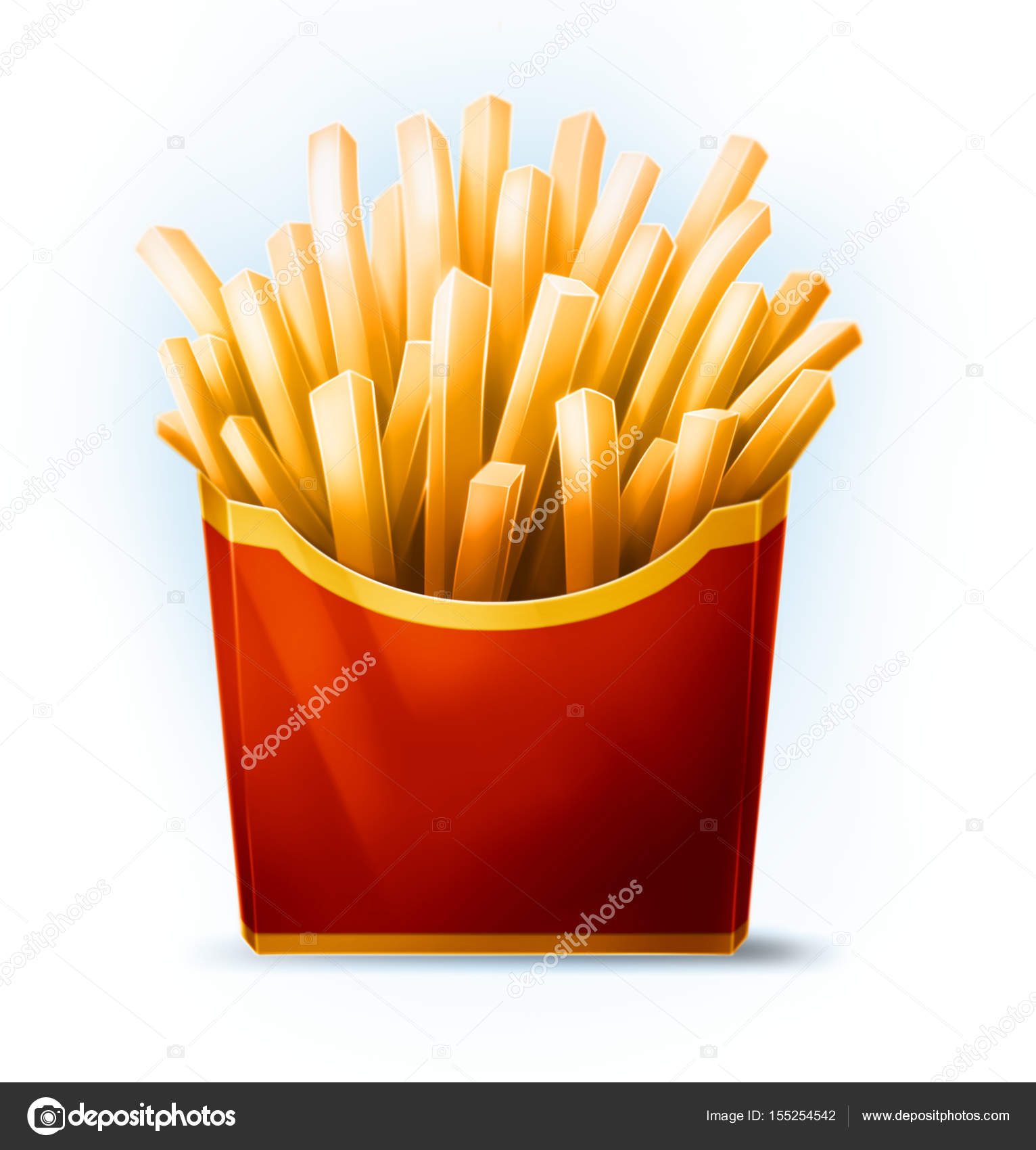 Tasty Cartoon French Fries In Red Box With Yellow Stripe Stock