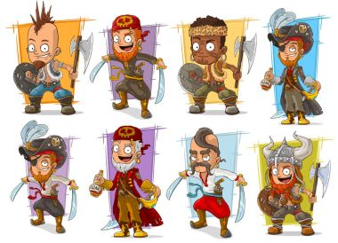Cartoon warrior with sword and axe character set