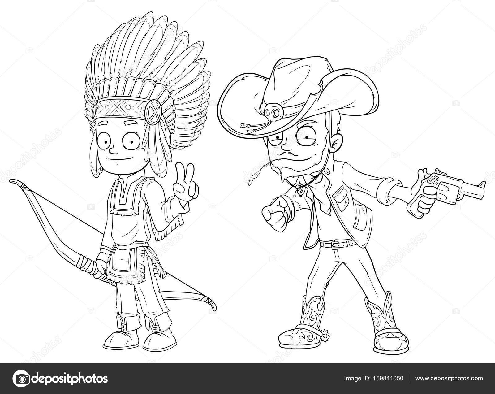 Conjunto niño indio de dibujos animados con vaquero arco con vector ...