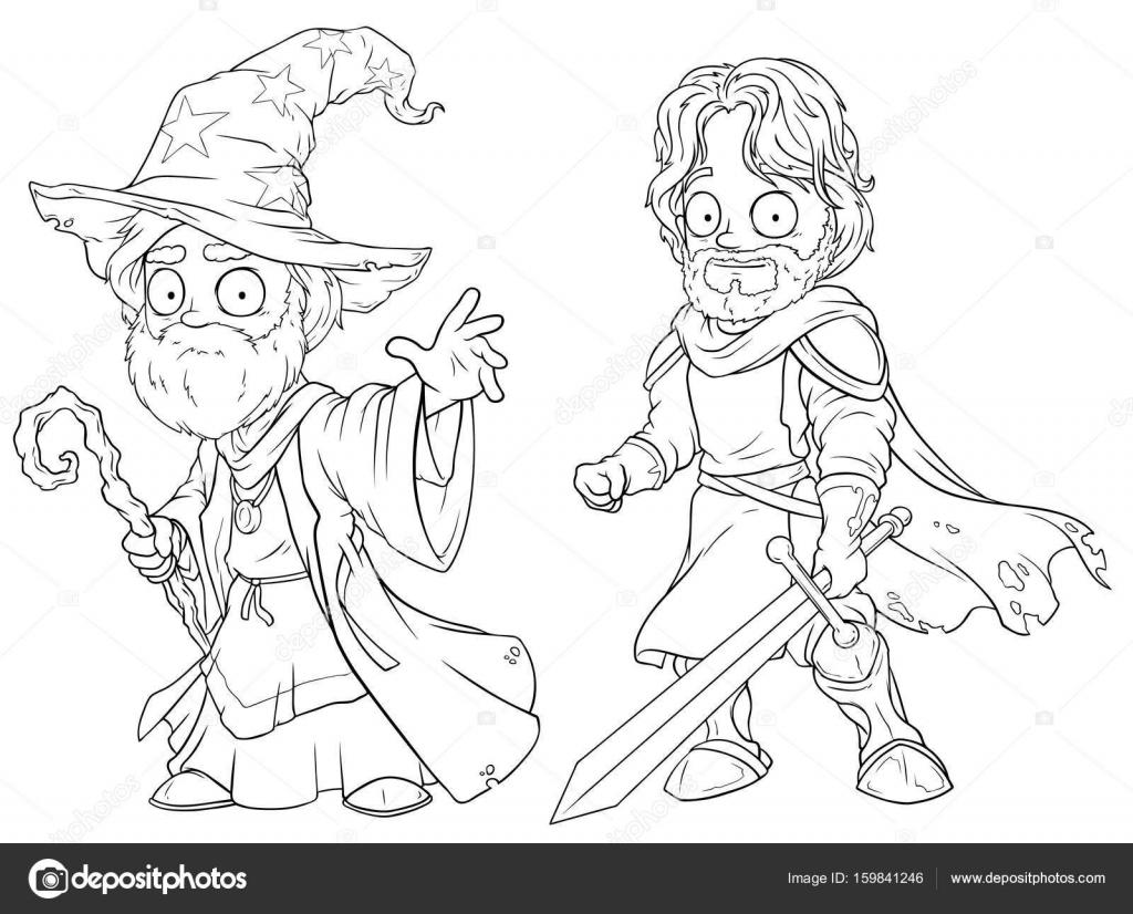 Dibujos animados mago medieval y valiente caballero juego de vector ...