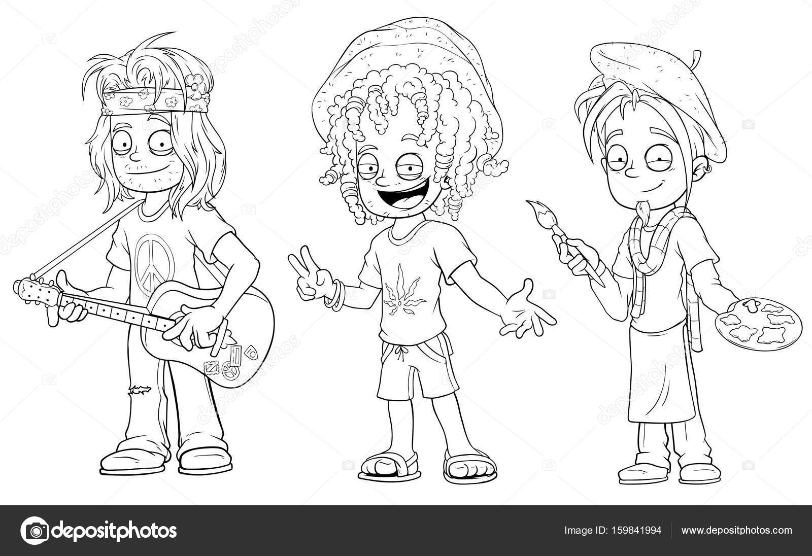 Cartoon hippie met gitaar Jamaicaanse artiest tekenset vector ...