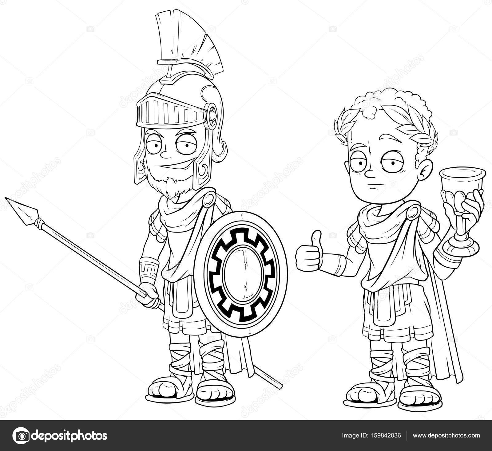 Soldado de dibujos animados imperator romano con vector de ...