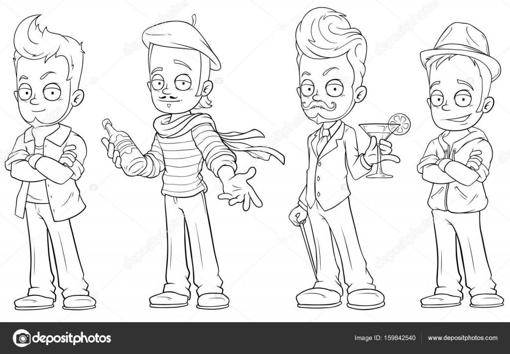 Chicos guapos de dibujos animados con alcohol conjunto de vectores ...