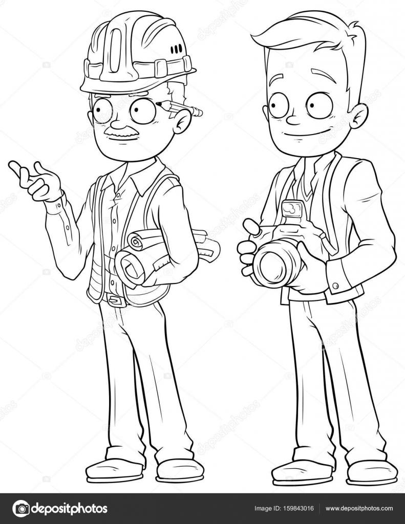 Animado Ingeniero Para Colorear De Dibujos Animados Conjunto De