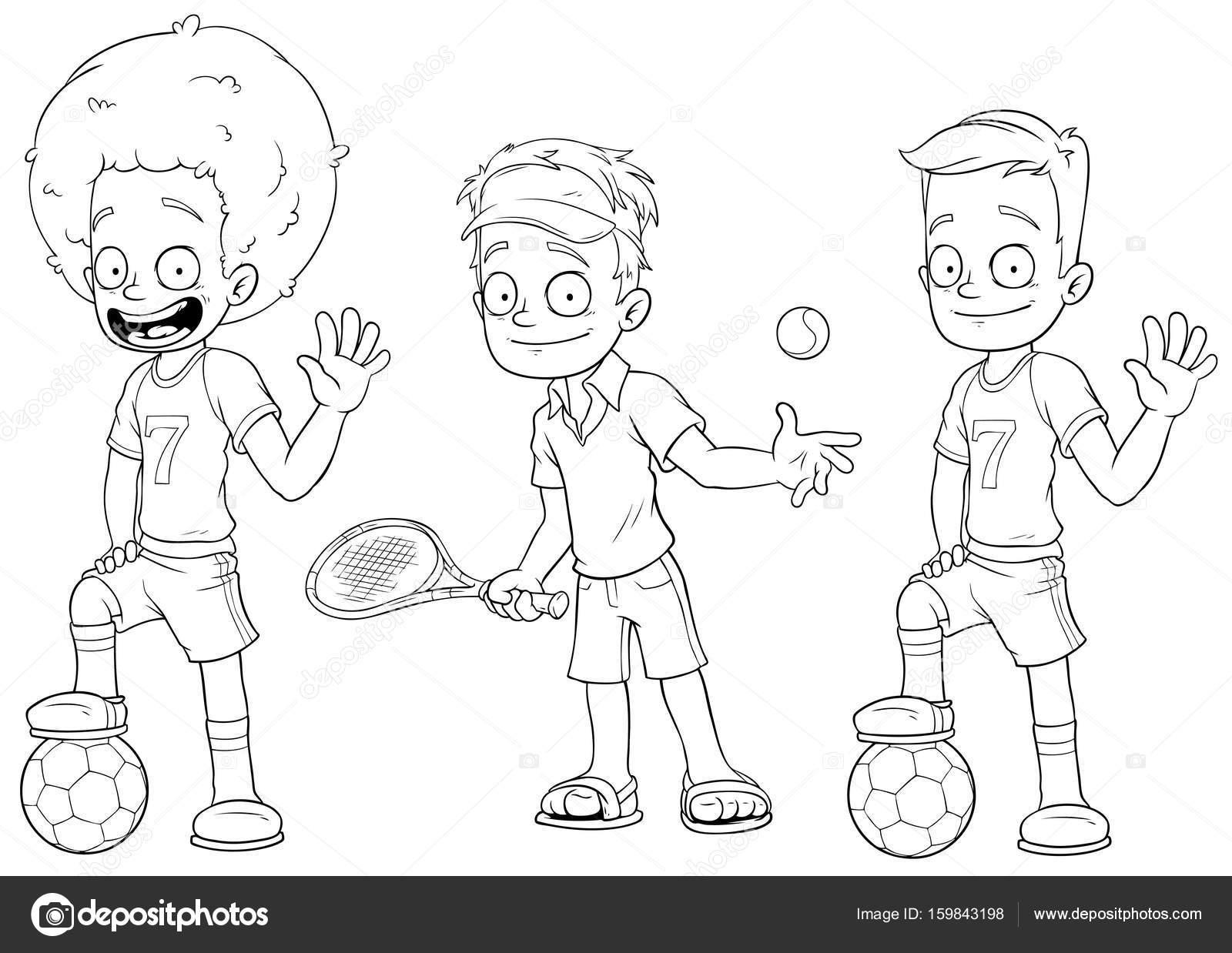 desenhos animados futebol tênis jogadores conjunto de vetor de